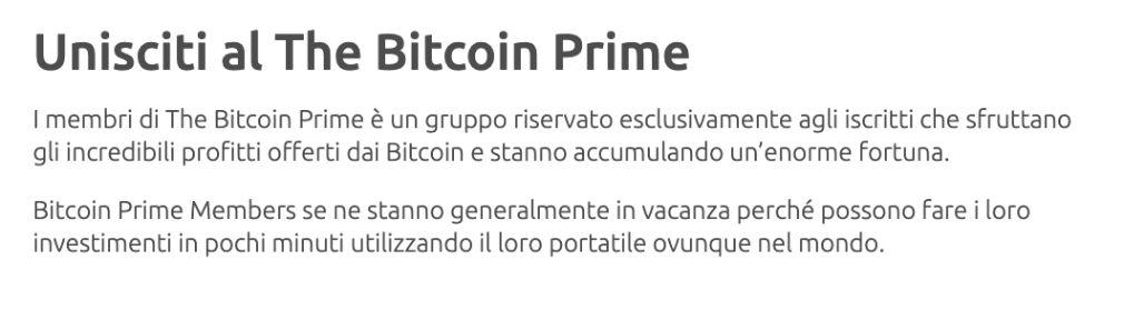 Bitcoin Prime aprire un account